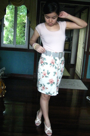pink Folded and Hung shirt - UK skirt - beige Charles & Keith shoes - white Clai