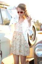 white white denim AG jacket - lace floral Mink Pink dress