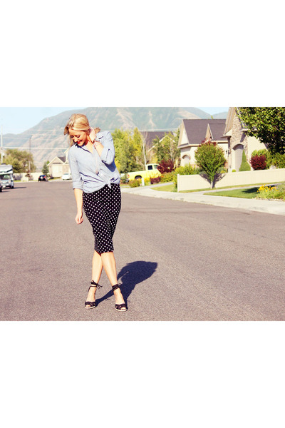 chambray Old Navy shirt - polka dots H&M skirt
