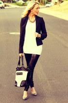 faux leather windsor leggings - fitted BCBG blazer - adorable Forever 21 bag