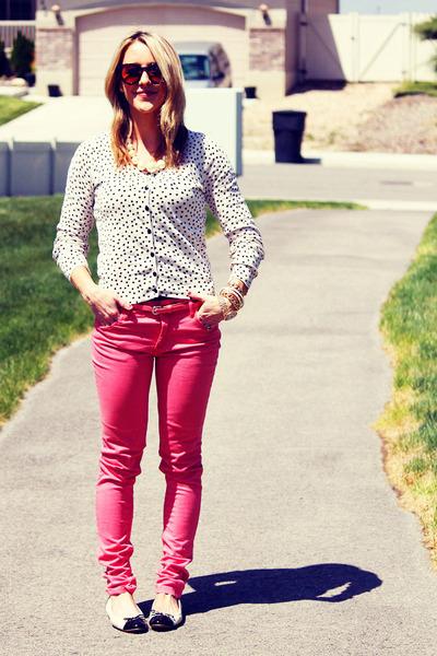 coral Zara jeans - polka dots H&M cardigan