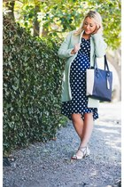 dotted Target dress - mint Choies coat - lilac Ruche heels
