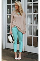 mint H&M jeans - white-black J Crew hat - beige Forever 21 sweater