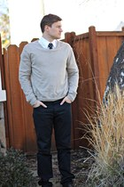 brown Samuel Adams shoes - gray Gap sweater - white Ross shirt
