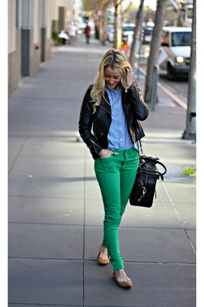 green H&M jeans - animal print H&M shoes - blue Old Navy shirt - black theIT bag