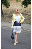 stripped Cozy skirt - yellow Ruche shoes - yellow H&M blazer - white H&M shirt