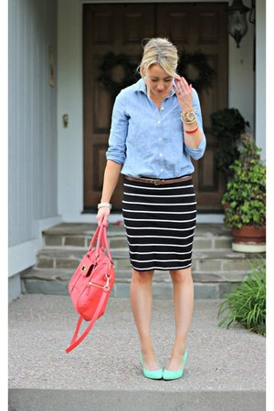 striped Forever 21 skirt - chambray Old Navy shirt - coral Target bag