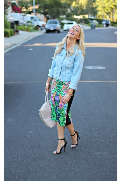 floral hello fab skirt - denim Old Navy jacket - beige H&M bag