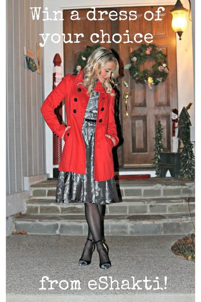 grey eShakti dress - red H&M jacket - black DBSshoes heels