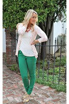 green H&M jeans - yellow Ruche heels - lace Forever 21 top