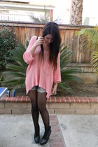 bubble gum lf sweater - light blue shorts - black sam edelman wedges