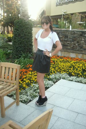 white Nordstrom shirt - black Urban Outfitters skirt - gold Jeffrey Campbell sho