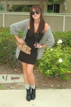 black asos dress - gray miss me collection sweater - gray f21 socks - black f21