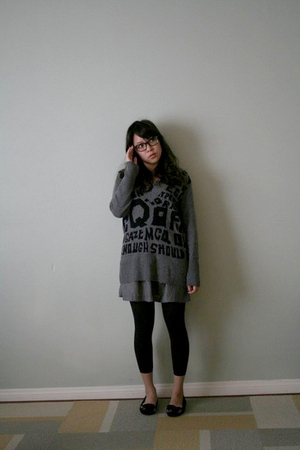 gray McQ sweater - silver Urban Outfitters dress - black Target leggings - black