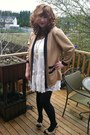 White-forever-21-dress-black-ross-pumps-tan-vintage-cardigan