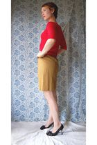 red thrifted sweater - gold thrifted skirt - black shoes