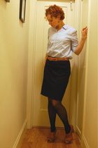 black skirt - blue thrifted shirt - black tights - brown Anthropologie shoes - t