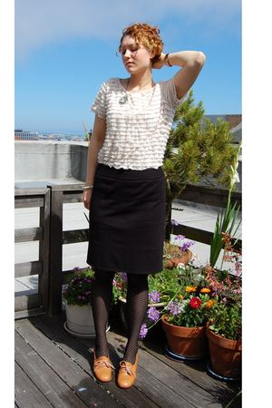 black Adriane Vittadini skirt - black Target tights - brown Chia Mihara shoes -