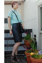 black leather skirt thrifted skirt - blue lace silk Idol Vintage shirt - gray Do