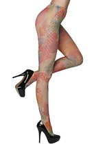 Lily Print Fishnet Tights