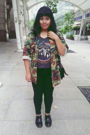 camo studded thrifted jacket - Dr Martens shoes - skinny Treats jeans