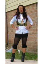 gold vintage necklace - black Bakers boots - white vintage shirt