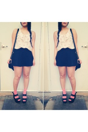 black Forever 21 skirt - bubble gum H&M socks - black Gee Wa Wa heels