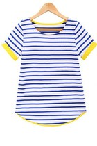 Blue Short Sleeve Striped Dipped Hem T-Shirt