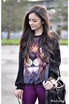 2013 New European Latest Style Women Black Crewneck Long Sleeve Lion Head Animal