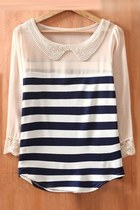2013 New Navy Beige Striped Long Sleeve Chiffon Blouse