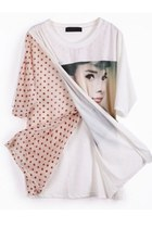 White Short Sleeve Polka Dot Hepburn Print T-Shirt