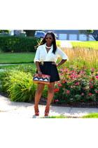 cream silk blouse - black tafetta Urban Outfitters skirt