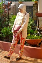 floral NIKICIO pants - red ciciero bag - peach Mango cardigan