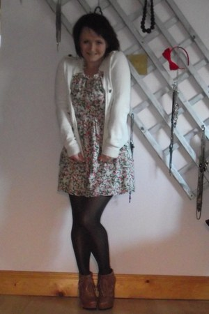 River Island wedges - Imasa dress - Wolford tights - Dunnes Stores Savida cardig