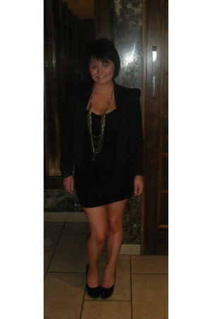 black River Island dress - black River Island jacket - black new look shoes