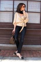 black H&M jeans - beige banana republic sweater - brown speedy Louis Vuitton bag