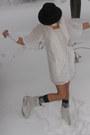 White-old-navy-dress-ivory-diesel-scarf