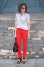 Polka-dot-blouse-red-h-m-pants-black-jessica-simpson-wedges