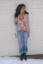 Seven jeans - heather gray banana republic blazer - Express shirt