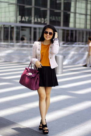 black Zara skirt - purple Mulberry bag - orange Topshop top