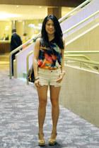 asos top - Louis Vuitton bag - Forever 21 shorts - Aldo heels
