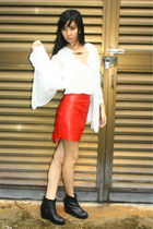 red thewildwolves skirt - dark brown boots - white thewildwolves blouse