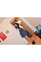 gray Silence  Noise dress - black Steve Madden shoes - white jacket
