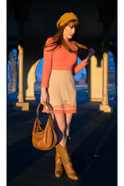 carrot orange vintage dress - vintage boots - mustard Forever21 hat