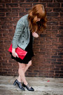 Black-velvet-vintage-dress-tweed-vintage-blazer-red-vintage-purse