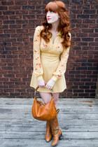 vintage boots - vintage dress - vintage bag