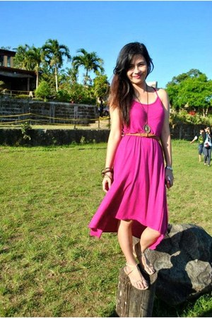 hot pink Forever21 dress - tan Forever21 sandals