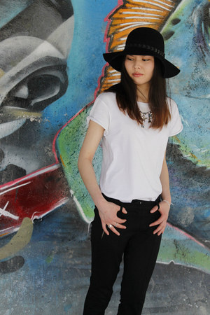 black Zara hat - white asos t-shirt - black Mango pants