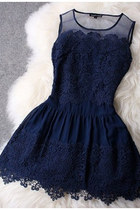 Sheer Shoulders Lace Embroidery Navy Dress
