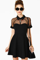 Black Sheer Panel Sweetheart Skater Dress